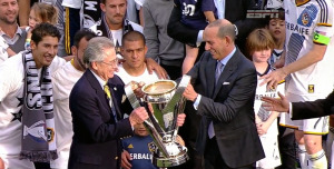 Don Garber handing the MLS Cup to not a player